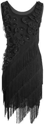 1d461f7d5bb PrettyGuide Women 1920s Beaded Fringe Scalloped Petal Hem Origami Flapper  Dress XL