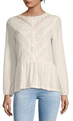 Daniel Rainn Contrast Lace Panel Peplum Top