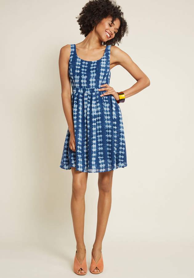 Freeing Feeling A-Line Dress in Shibori in 2X - Spaghetti Knee Length