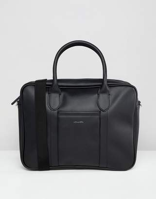 Asos Design DESIGN laptop bag in black faux leather and silver foil emboss
