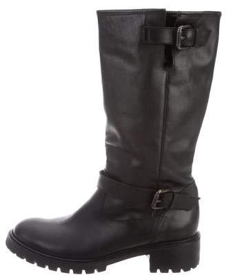 Fendi Fur-Lined Leather Boots