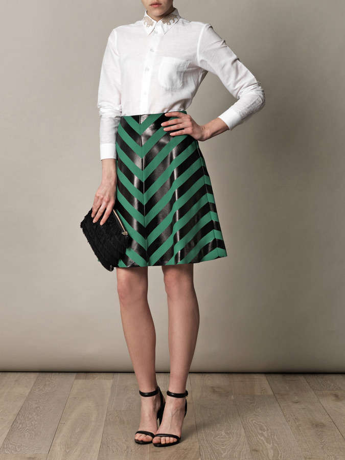 Jonathan Saunders Heather foil-stripe A-line skirt
