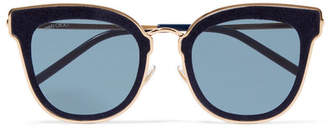 Jimmy Choo Nile Cat-eye Glittered Suede And Gold-tone Sunglasses - Blue