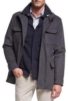 Loro Piana New Traveler Cashmere Stretch Storm System® Jacket, Smoke