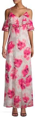 Calvin Klein Collection Floral Cold Shoulder Maxi Dress