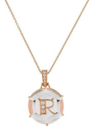 Frederic Sage 18K Diamond & Quartz Initial R Pendant Necklace