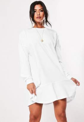 Missguided White Frill Hem Sweater Dress
