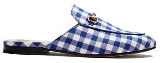 Gucci Princetown Gingham Backless Loafers - Womens - Blue White