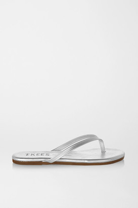 TKEES Lily Metallic Leather Flip Flops - Silver