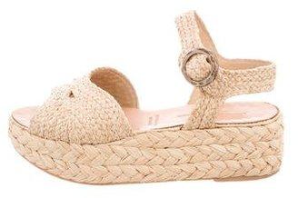 Robert Clergerie Woven Straw Flatform Sandals $125 thestylecure.com