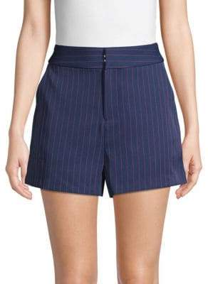 Pinstripe High-Waist Shorts
