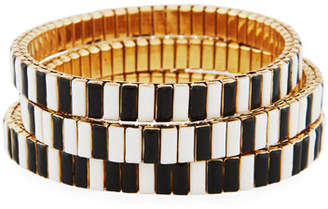 Neiman Marcus Watch Out Stretch Bracelet, Black/White