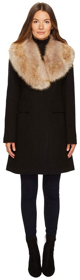 Kate Spade New York - Wool Twill Faux Fox Collar Peacoat Women's Coat