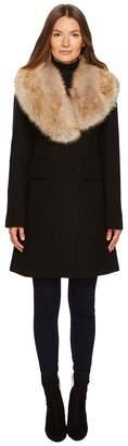 Kate Spade Wool Twill Faux Fox Collar Peacoat