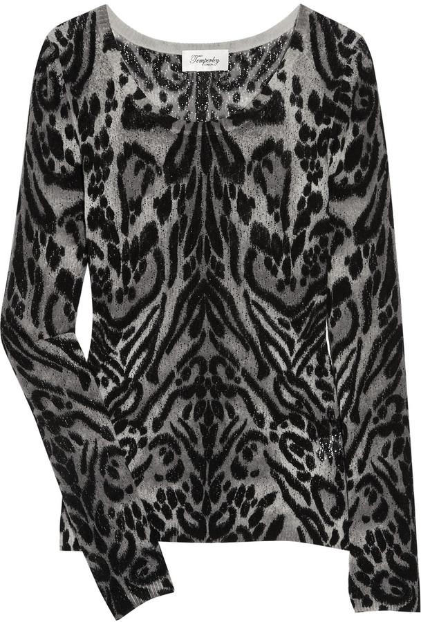 Temperley London Animal-print merino wool sweater