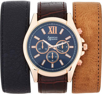 American Exchange AMIN5114R100 Rose Gold-Tone Watch & Interchangeable Strap Set