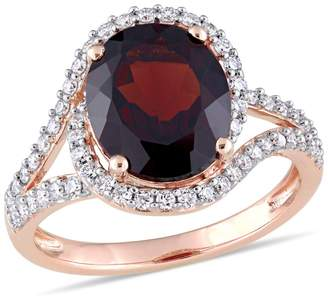 Concerto Gold Gemstone 14K Rose Gold Solitaire Ring with Garnet and 0.5 CT. T.W. Diamond