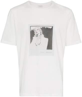 Saint Laurent logo lip-print T-shirt