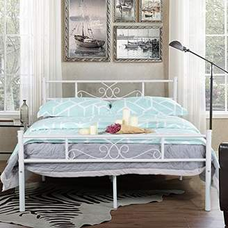 SimLife Full Size White Bedframe Metal Bed Frame with Headboard and Footboard Mattress Foundation Support Platform Bed No Box Spring Needed