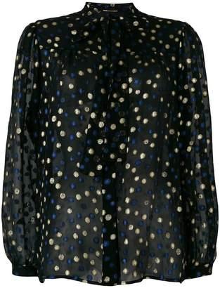 Saint Laurent polka dot tie neck shirt