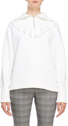 Romanchic Ruffled Quarter-Zip Sweatshirt