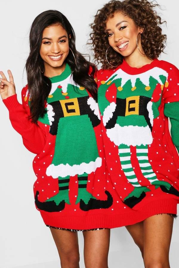 boohoo Lauren Mr & Mrs Elf Twin Christmas Jumper