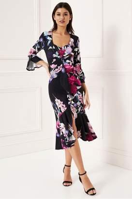 Lipsy Scarlet Print Jersey Wrap Dress - 6 - Blue