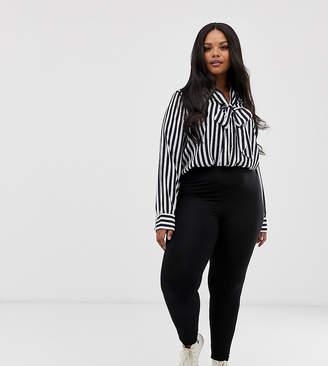 Asos DESIGN Curve high waisted leggings in black