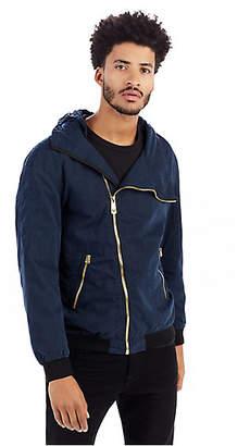 True Religion Mens Waxed Cotton Hooded Jacket