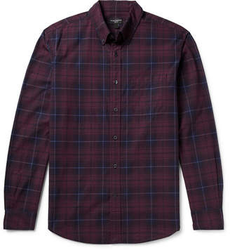 Club Monaco Slim-Fit Button-Down Collar Checked Cotton-Poplin Shirt
