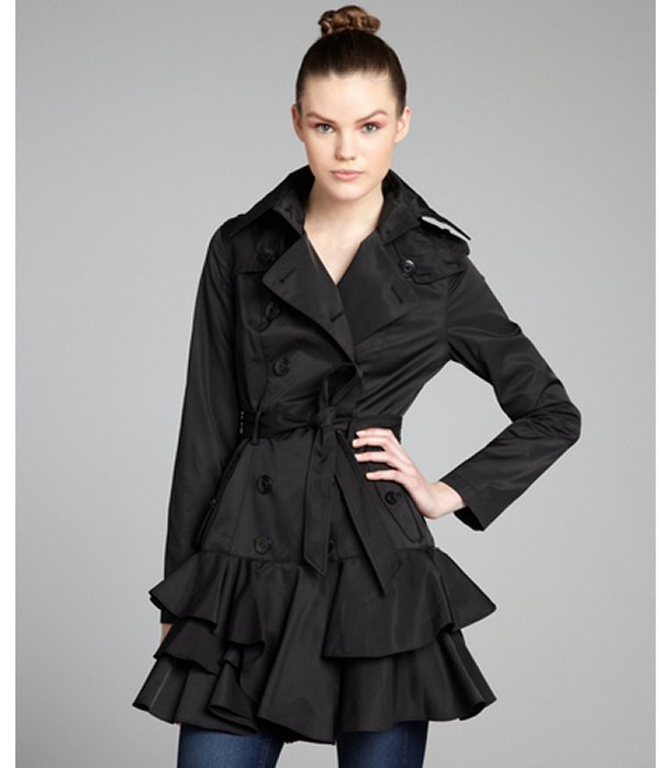 Betsey Johnson black cotton blend tiered ruffle trimmed trench coat