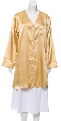 Oscar de la Renta Satin Long Sleeve Nightgown
