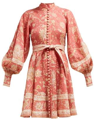 Zimmermann Veneto Border Floral Print Linen Dress - Womens - Red