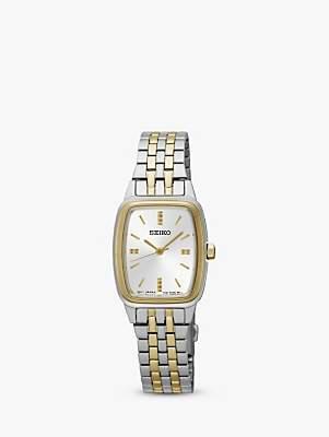 Seiko SRZ472P1 Women's Rectangular Dial Bracelet Strap Watch, Silver/Gold