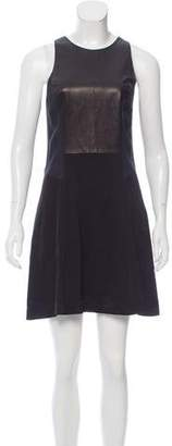 Rag & Bone Leather-Accented Satin Dress