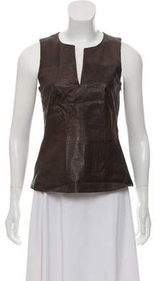 Theory Embossed Leather Sleeveless Top