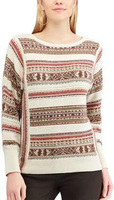 Chaps Petite Striped Linen-Blend Crewneck Sweater