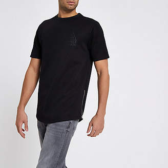 Mens Black side zip longline slim fit T-shirt