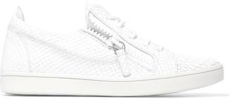 Giuseppe Zanotti - Croc-effect Leather Sneakers - White $675 thestylecure.com