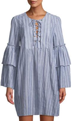 BCBGMAXAZRIA Henley Striped Lace-Up Dress