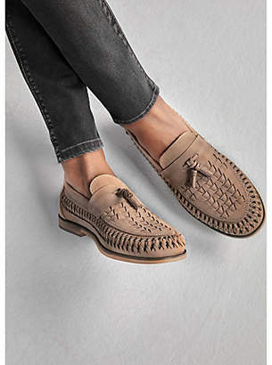 River Island Stone leather woven tassel loafers