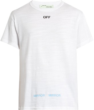 OFF-WHITE Logo-print cotton-jersey T-shirt $195 thestylecure.com