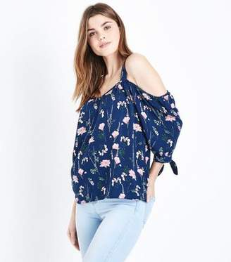 55fd447480 at New Look. Apricot Navy Floral Cold Shoulder Top