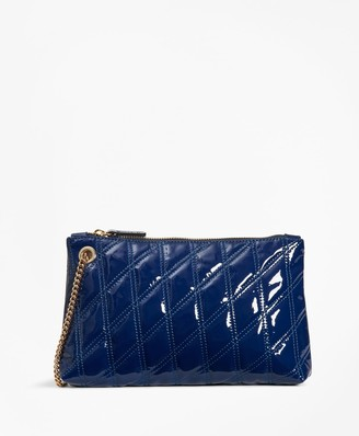 Brooks Brothers Quilted Patent Leather Wristlet Clutch