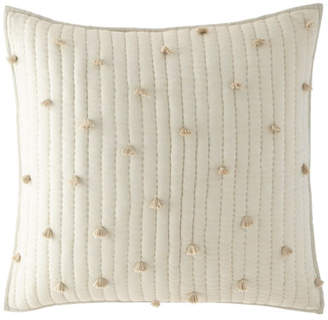Pine Cone Hill Pompoms Moonstone Quilted European Sham