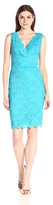 Sangria Women's V-Neck Scalloped Hem Lace Sheath,2
