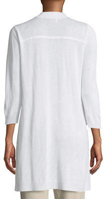 Joan Vass 3/4-Sleeve Open-Front Cardigan