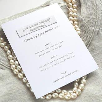 Keepsake Wue 'Bridesmaid' Sew In Label
