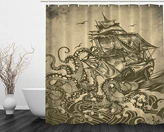 Ambesonne Ocean Shower Curtain Sail Boat Waves and Octopus Kraken Tentacles Country Decorations for Bathroom Sepia Print Polyester Fabric Shower Curtain