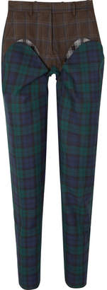 Y/Project Paneled Plaid Wool-twill Straight-leg Pants - Emerald